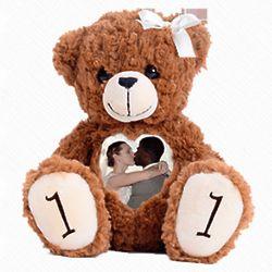 "Custom Photo and Voice 12"" Anniversary Teddy Bear"