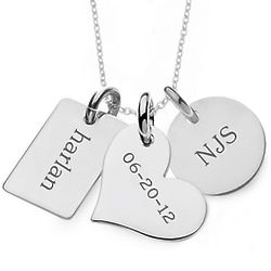 Personalized Family Tags Sterling Silver Necklace