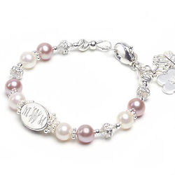 Child's Dazzling Pink & White Pearl Bracelet with Engraved Bead