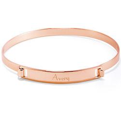 Hinged Name Bar Rose Gold Bangle Bracelet