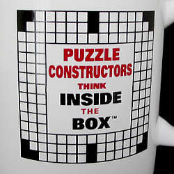 """Puzzle Constructors Think Inside the Box"" Crossword Mug"