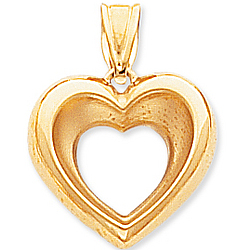 14k Yellow Gold Lovely Open Heart Pendant