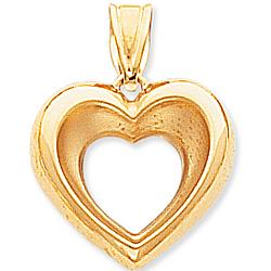 14k Yellow Gold Lovely Open Heart Pendant