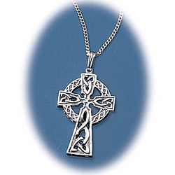 Men's Celtic Cross Sterling Silver Necklace