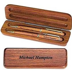 Personalized Rosewood Pen and Pencil Gift Set