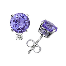 6mm Round Tanzanite and Diamond Stud Earrings in 14K White Gold