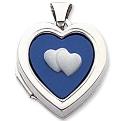 14k White Gold Blue Cameo Hearts Locket