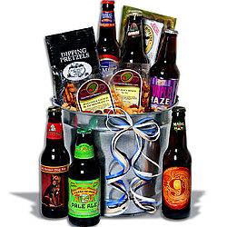 Microbrew Beer Bucket Gift Basket with 6 Beers