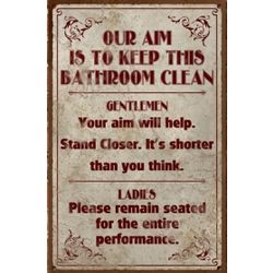 Funny Vintage Clean Bathroom Sign