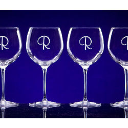 Monogrammed Crystal Red Wine Glass Set