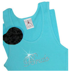 Bridal Party Turquoise Script Tank with Removable Flower