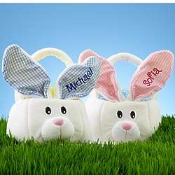 Personalized Large Bunny Basket with Gingham Ears