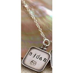 Hand Stamped Family Necklace with One Pendant