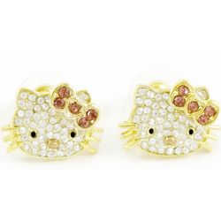 18k Gold-Plated Kitty Crystal Stud Earrings