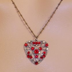 Silver and Red Open Heart Necklace