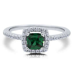 Emerald Cubic Zirconia Sterling Silver Halo Solitaire Ring