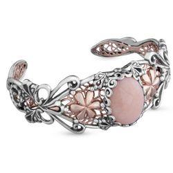 Blushing Joy Pink Opal and Mixed Metal Small Cuff Bracelet