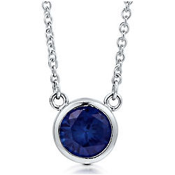 Sterling Silver Sapphire Cubic Zirconia Solitaire Necklace