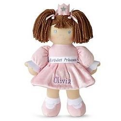 Personalized Birthday Princess Caucasian Brunette Doll