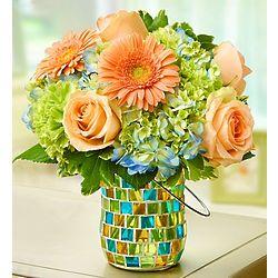Garden Flower Bouquet in Mosaic Candle Holder