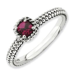 Antiqued Sterling Silver Checker Cut Faux Ruby Ring