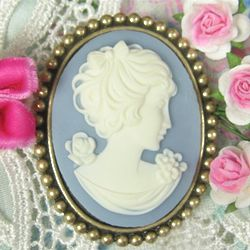Fancy Empress Wedgwood Blue Brooch