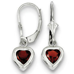 Garnet and Sterling Silver Lever Back Earrings
