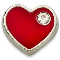 Charming Life Silvertone Red Crystal Heart Charm