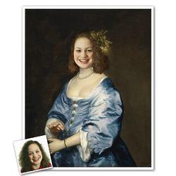 Personalized Classic Painting Portrait of Lady Van Dyck Art Print