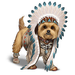 Native American Inspired Chief Little Paws Yorkie Figurine