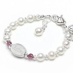 A Little Sparkle Pearl & Birthstone Engraved Name Bracelet