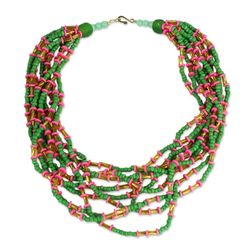 Field of Tulips Recycled Glass and Plastic Beaded Necklace