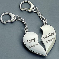 Personalized Heart to Heart Keychain
