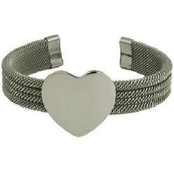 Stainless Steel Heart Mesh Cuff Bracelet