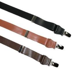 Smooth Leather Clip-End Suspenders