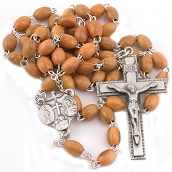 Olivewood and Pewter Rosary
