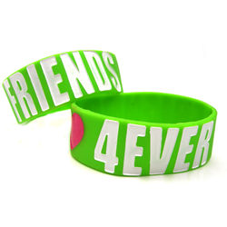 """Friends 4Ever"" Wide Silicone Friendship Bracelet"