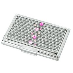 Pink Crystal Personalized Business Card Holder