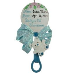 Personalized Baby Boy Rattle Christmas Ornament