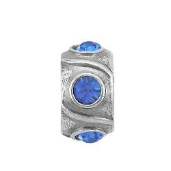 Sterling Silver Blue Crystal September Birthstone Charm