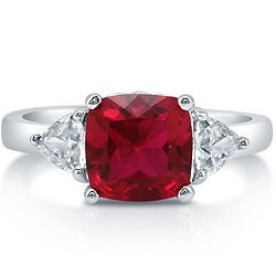 Cushion Cut Ruby Cubic Zirconia Sterling Silver Ring