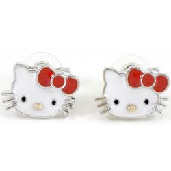 Kitty Silver Plated Enamel Earrings