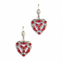 Silver and Red Open Heart Earrings