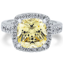 Sterling Silver Cushion Cut Canary Cubic Zirconia Ring