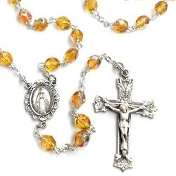 Bohemian Glass Topaz November Birthstone Rosary