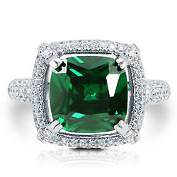 Cushion-Cut Emerald CZ Sterling Silver Halo Cocktail Ring