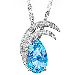 Blue Topaz and Crystal Moonlit Splendor Pendant