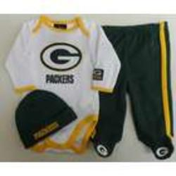 Newborn Packers Creeper, Pants, Hat Set