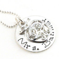 Personalized Hand Stamped Filigree Apple Teacher Necklace