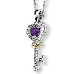 Amethyst and Diamond Key To My Heart Necklace